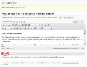 WordPress Excerpt feature